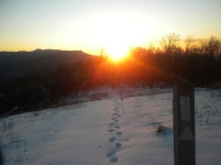 Sunset just north of the Smokies. Note the shallow snow drifts thanks to a lower altitude.